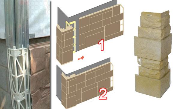 установка наружных углов цокольных панелей
