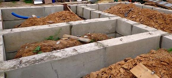 Сборный ленточный фундамент из железобетонных блоков