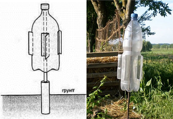 Изготовление шумового отпугивателя для борьбы с кротами своими руками из пластиковой бутылки