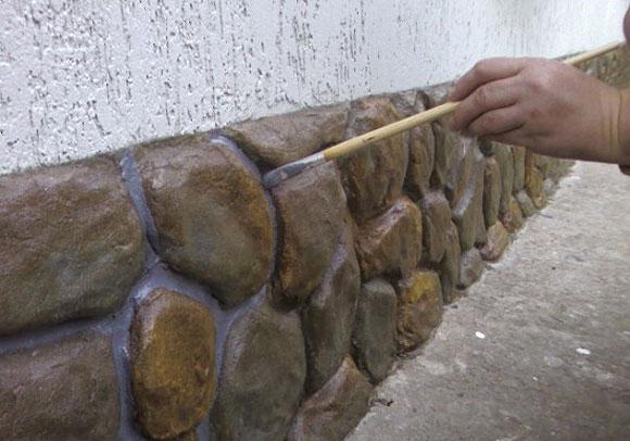 декоративная штукатурка фундамента под камень